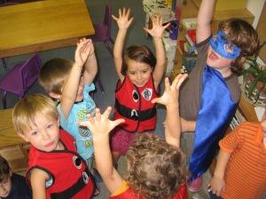 0 Superhero huddle